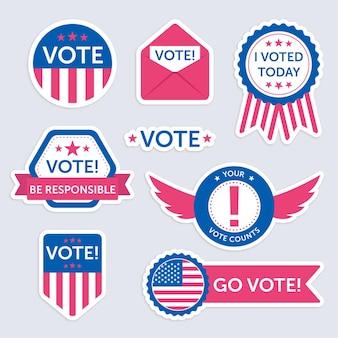 Pacchetto di badge e adesivi di voto