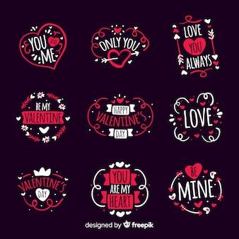 Pacchetto di badge San Valentino disegnato a mano