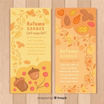 Pacchetto di banner autunno disegnato a mano