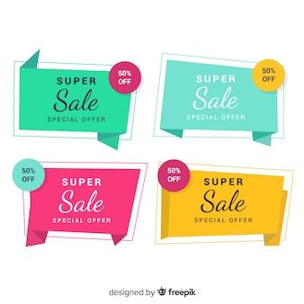 Pacchetto di banner di vendita origami colorato