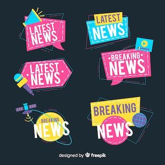 Pacchetto di banner notizie colorate origami più recenti