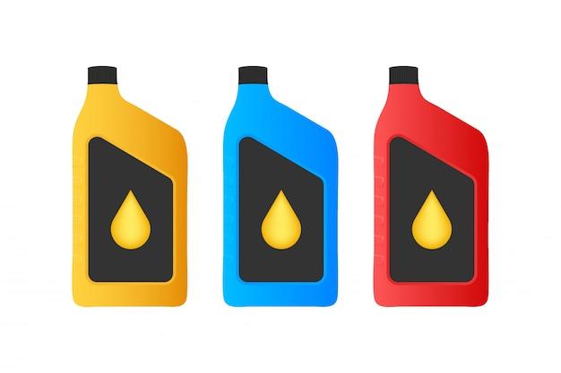 Pacchetto di bottiglie di plastica per olio motore.