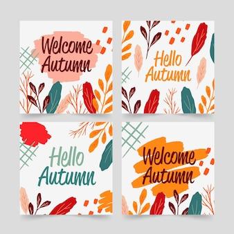Pacchetto di carte autunno disegnato a mano