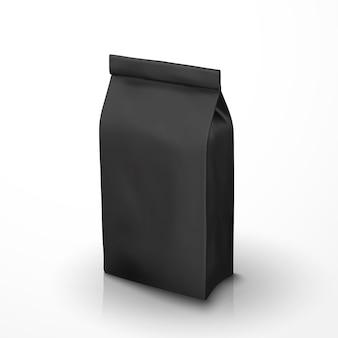 Pacchetto di chicchi di caffè, pacchetto di lamina nera nell'illustrazione per usi