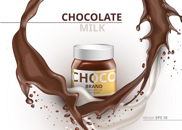 Pacchetto di cioccolato imbalsamare vector realistico su sfondo splash
