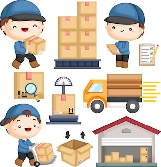 Pacchetto di consegna postino