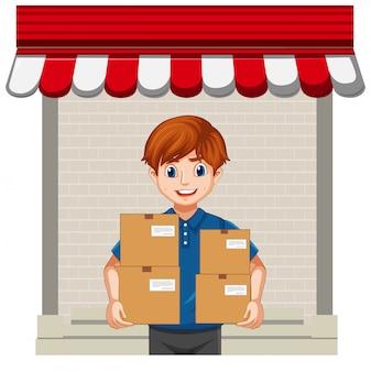 Pacchetto di consegna uomo su sfondo bianco