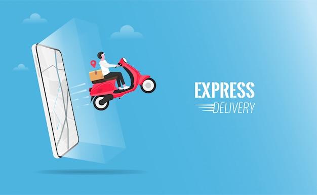 Pacchetto di consegna veloce tramite corriere con lo scooter sull'illustrazione del telefono cellulare.