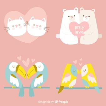 Pacchetto di coppia animale disegnato a mano di san valentino a mano di colore pastello