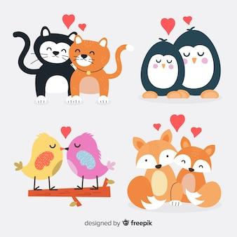 Pacchetto di coppie animali carino di san valentino