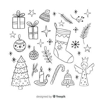 Pacchetto di decorazioni di natale disegnati a mano