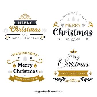 Pacchetto di eleganti autoadesivi natali