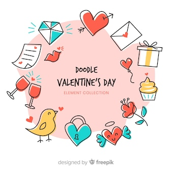 Pacchetto di elementi di doodle di san valentino