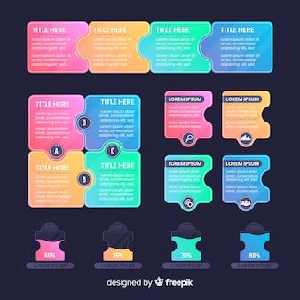 Pacchetto di elementi di infographics di affari gradiente