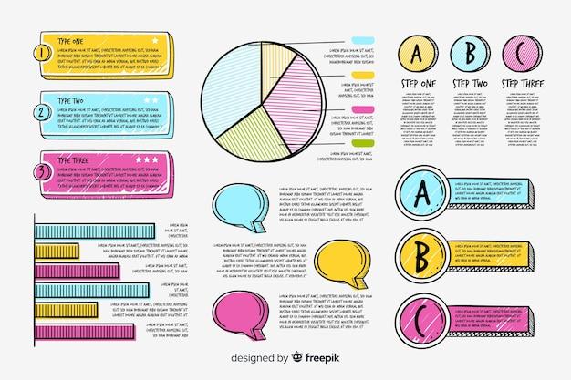 Pacchetto di elementi infografica disegnati a mano