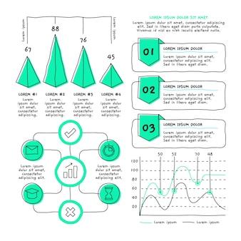 Pacchetto di elementi infographic disegnati a mano