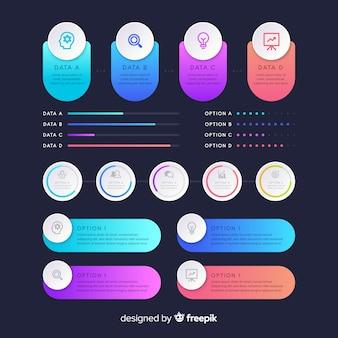 Pacchetto di elementi infographic gradiente