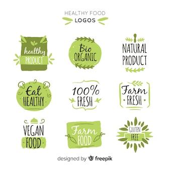 Pacchetto di etichetta di cibo biologico disegnato a mano semplice