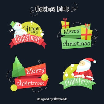 Pacchetto di etichette natalizie di testo