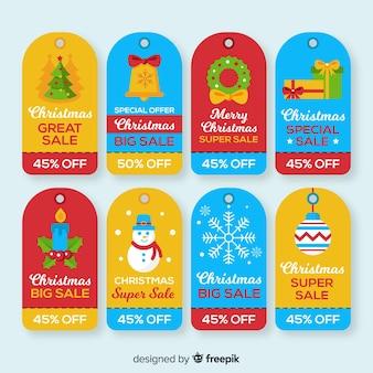 Pacchetto di etichette piatte di vendita natalizia