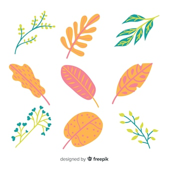 Pacchetto di foglie e fiori astratti disegnati a mano