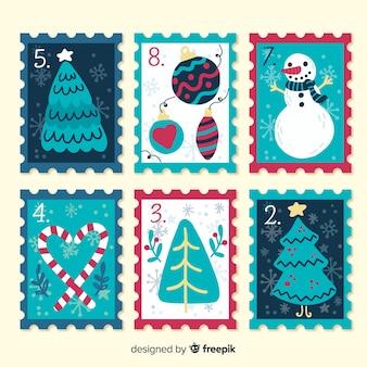 Pacchetto di francobolli di natale disegnato a mano colorato