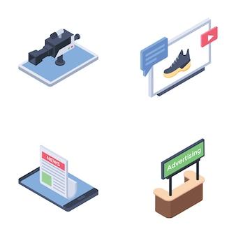 Pacchetto di icone di canali multimediali pubblicitari digitali