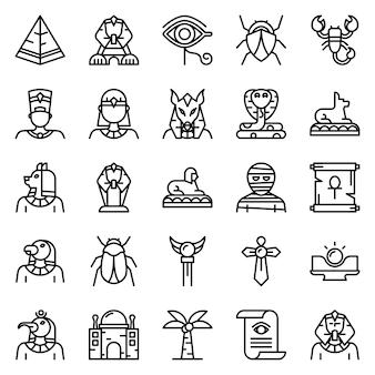 Pacchetto di icone di egitto, con stile icona di contorno