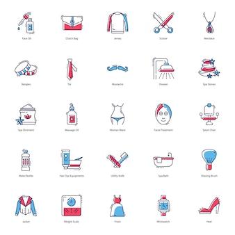 Pacchetto di icone di salute, spa e salone