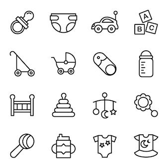 Pacchetto di icone di strumenti del bambino, stile icona contorno
