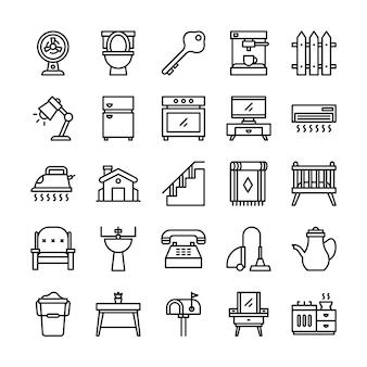 Pacchetto di icone di vita domestica, con stile icona di contorno