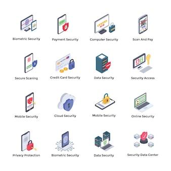 Pacchetto di icone isometriche del sistema di sicurezza