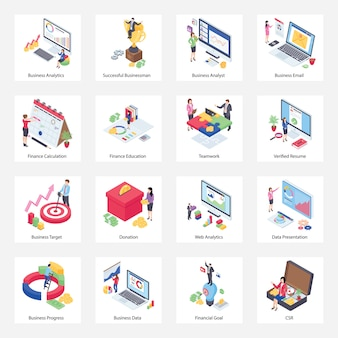 Pacchetto di icone isometriche di analisi dei dati aziendali