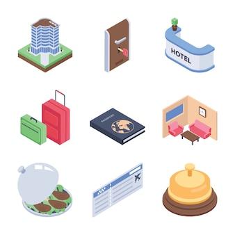 Pacchetto di icone isometriche di viaggio e hotel
