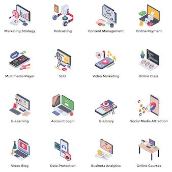 Pacchetto di icone isometriche di webinar podcasting