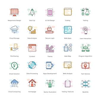 Pacchetto di icone piane di web design