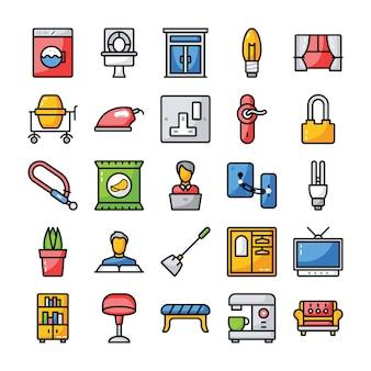 Pacchetto di icone piatte per famiglie e per la casa