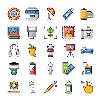Pacchetto di icone vettoriali piatto di fotografia e grafica