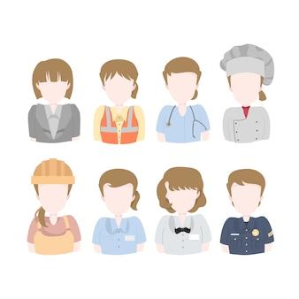 Pacchetto di illustrazione di avatar operaio donna