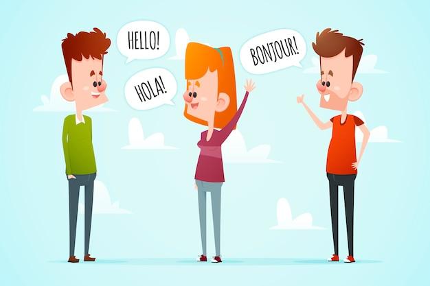 Pacchetto di illustrazione di persone multiculturali che comunicano