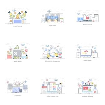 Pacchetto di illustrazione piatto social media