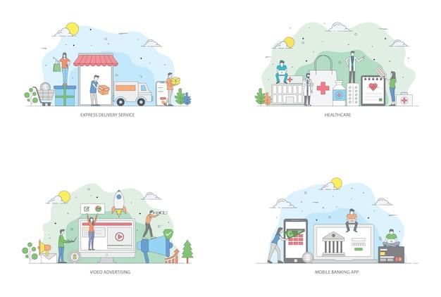 Pacchetto di illustrazioni piatte di affari online