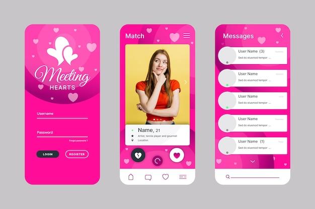 Pacchetto di interfaccia app per incontri