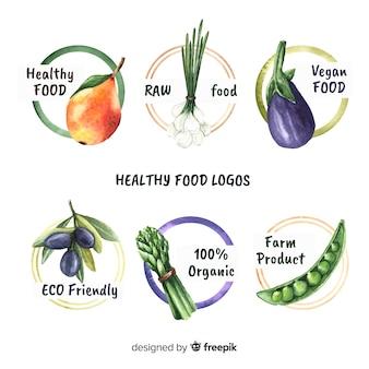Pacchetto di loghi cibo biologico disegnato a mano