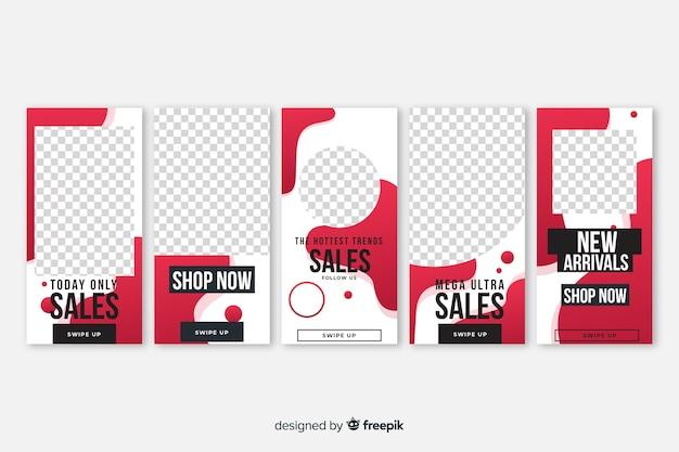Pacchetto di modelli di storie di instagram di vendita di forme fluide