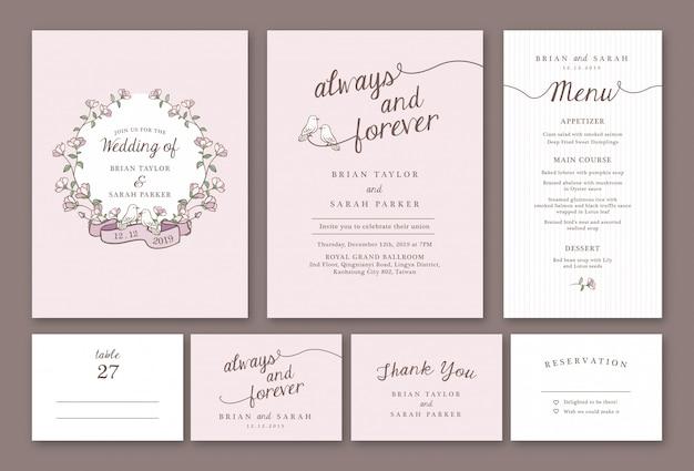 Pacchetto di modello di invito di matrimonio floreale pastello rosa disegnato a mano