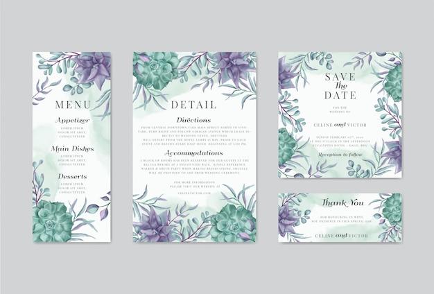 Pacchetto di modello di invito di nozze con ornamento floreale