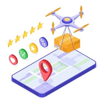 Pacchetto di ordini online con consegna drone