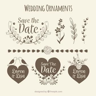 Pacchetto di ornamento di nozze