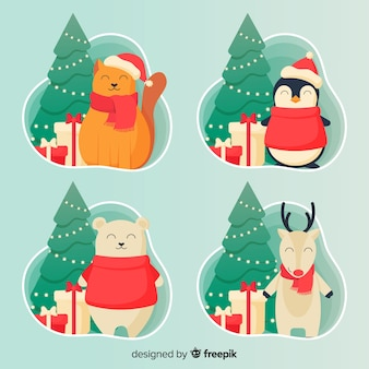 Pacchetto di personaggi natalizi sorridenti
